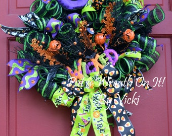Wicked! Black and Green Deco Mesh Halloween Wreath SALE!