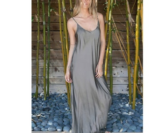 PLUS SIZE grey color silk slip bias dress