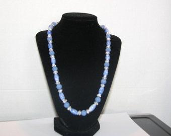 EHMN #28  CERAMIC Oval & OPAQUE Aqua Beaded Necklace