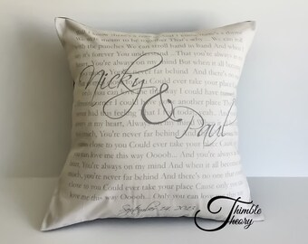 Wedding Vow Pillow, Wedding song, Anniversary gift, Song Lyric pillow, Favourite Poem