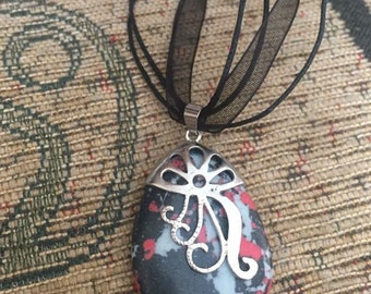 Howlite black red silver pendant on organza ribbon necklace