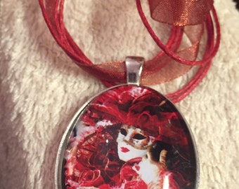 Pierrot style crying clown large silver pendant red organza ribbon necklace