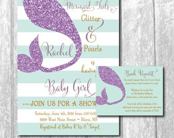 Mermaid Baby Shower Invitation with Book Request Insert / DIGITAL FILES / printable/ wording and colors can be changed