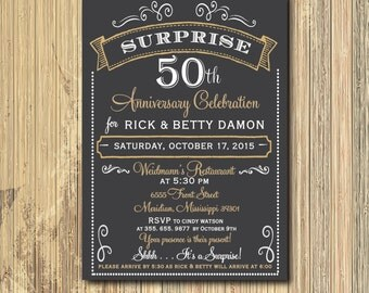 50th Anniversary Invitation printable/celebration, party, dinner, gold, surprise, 60th, wedding/Digital File/wording can be changed