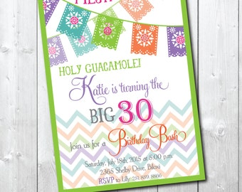 Birthday Party Invitation Fiesta Mexican printable/Digital File/30th Birthday Invitation, 40th Birthday, Wording can be changed