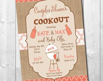 Couples Baby Shower & Cookout Invitation / digital file / printable/ wording and colors can be changed/fall, burlap,coral, rustic