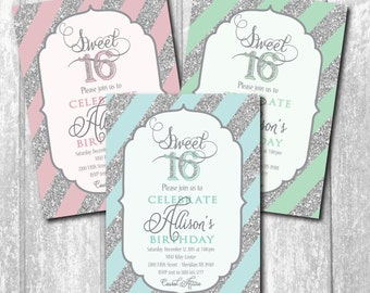 Sweet Sixteen Invitation silver pink/printable/Digital File/aqua, mint, glitter, sweet sixteen party, teen party invitation, tween girl