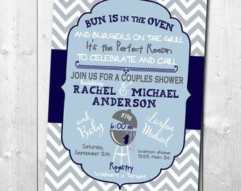 "Couples Baby Shower Invitation...""Bun in Oven"" / DIGITAL FILE / printable/ wording and colors can be changed"