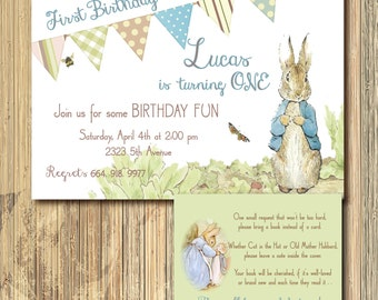 Vintage Peter Rabbit Birthday Invitation with Book Request Insert/ DIGITAL FILES/ printable/ wording and age can be changed