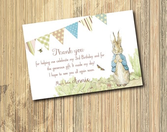 Peter Rabbit Thank you Note to match Invitation / DIGITAL FILE / printable / wording can be changed