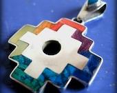 peruvian jewelry chakana ethnic pendant  mystical powerful symbol prosperity spiritual necklace inca jewelry colorful silver cross