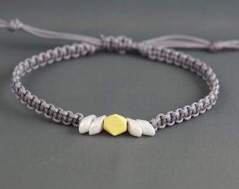 Surfer Bracelet - Surf Bracelet - Hand-Painted Wood Bracelet - Macrame Bracelet - Beach Bracelet - Resort Bracelet - Stackable Bracelet