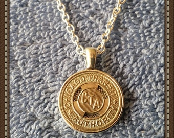 Handcrafted Chicago Transit Token Pendant Necklace