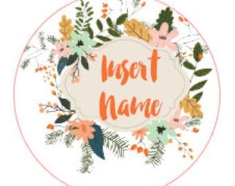Floral Label Custom Printed Vinyl Labels
