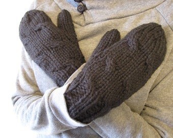 Cozy Handmade Flannelette Lined Cable Knit Mittens in Black