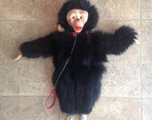 Vintage Rubber Face Monkey with Red Collar and Chain