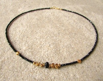black spinel necklace with tourmaline and solid gold 18 karat 18k