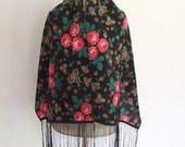 Polish Folk Vintage Authentic Scraf / Wool Polish Folk Shawl/Vintage Black Floral Pattern Polish Scraf/Beautiful Vintage Folk Polish Scraf