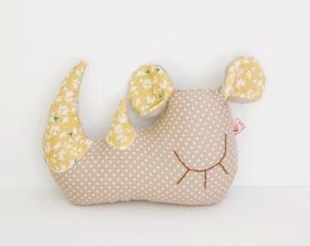 "Plush white Rhinoceros ""Lj7284"" taupe orange doudou patterned graphics and peas"