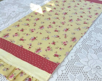 Summer Yellow and Red Flowered Table Runner