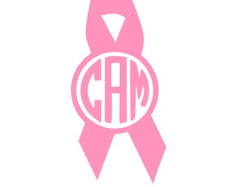 Breast Cancer Awareness Monogram/Initials Ribbon Decal/Sticker Sale