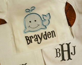 Boys layette clothing set( whale's and initials)