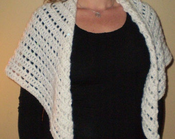 LADY LAWYER Neck Shawl White Rainbow Sequins is Multi Purpose and All Season One Size Fits All