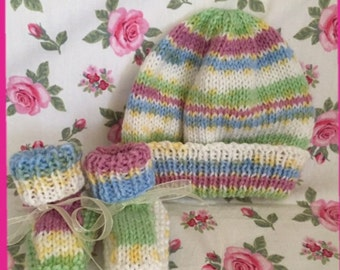 Hat and Booties Set.