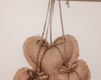 Burlap and lace hanging hearts