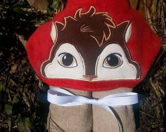 Chipmunk Hooded Towel with FREE Embroidered Name