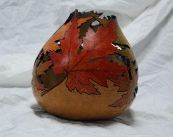 Hand Carved Leaf Gourd