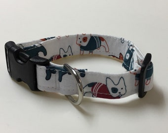 Adjustable French Bulldog Print Dog Collar