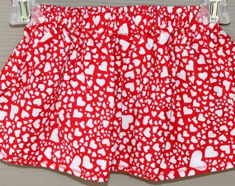 Valentines Skirt - Valentines Outfit - Girls Skirts - White Hearts on Red Skirt - Valentines Day Skirt - Baby Valentines Clothing