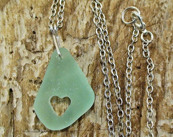 Heart Sea Glass Necklace Natural Seaglass Jewelry Beach Jewelry Bohemian Pendant Beach Wedding