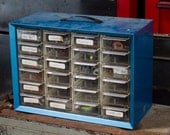 Vintage Tool Organizer Large Metal Tool Box Industrial Tool Storage Nuts and Bolts Box
