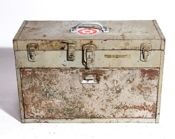 Vintage Machinist Tool Box Industrial ToolBox Large Metal Chiipy Shabby Industrial Decor Huge Large tool Box