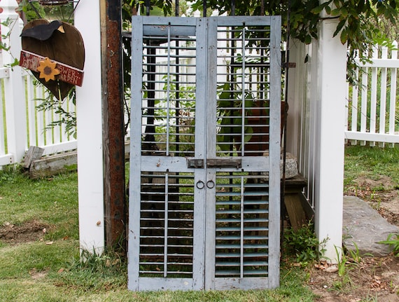 Antique wooden shutters with original hardware by - Exterior shutter hardware decorative ...