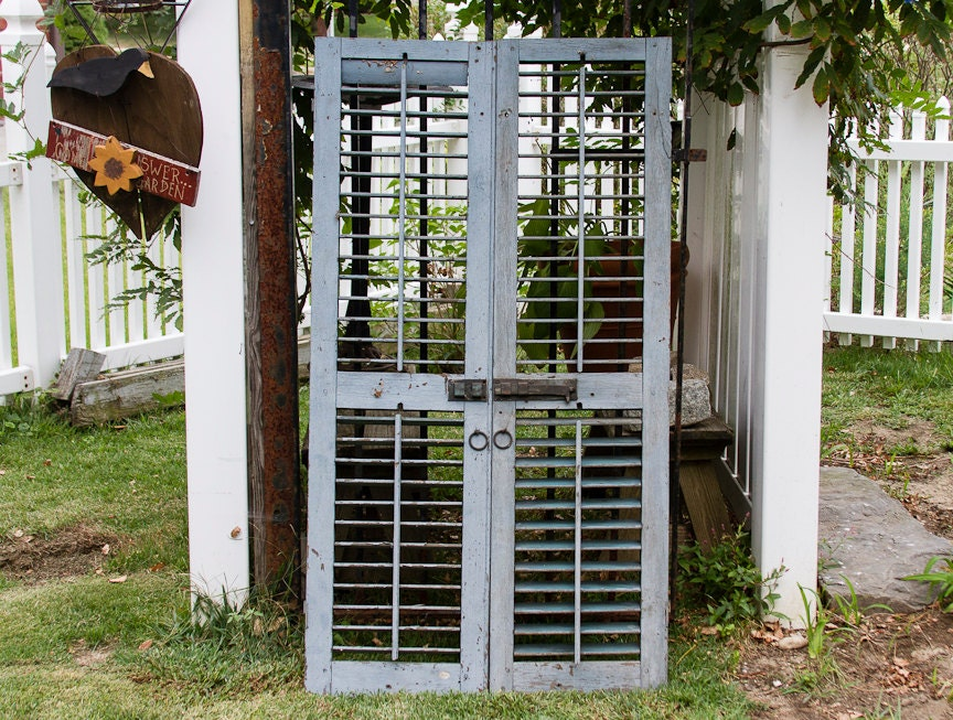Antique Wooden Shutters With Original Hardware By