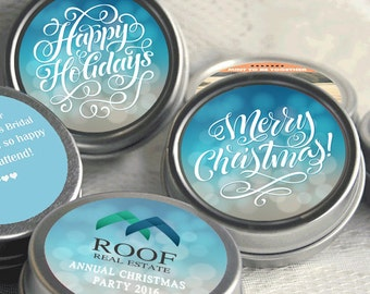 12 Personalized Happy Holidays Mint Tins Favors Filled - Holiday Mints - Christmas Mints - Christmas Favors - Holiday Party Favors