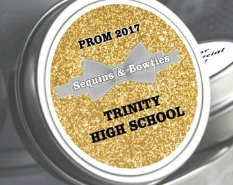 12 Personalized Sequins Prom Mint Tin Favors  - Prom Party Favors - Gold Glitter Favors - Prom Mints - Bow-Ties - Gold Glitter - Prom Favors