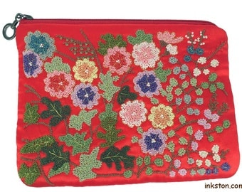 Handmade Silk Embroidey Purse, Red