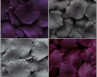 500 Rose Petals -Plum- Eggplant-Grey Rose Petal Blend