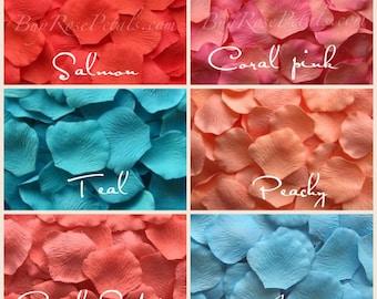 Carribbean Blend Rose Petals - 1,500 Silk Rose Petals for Weddings