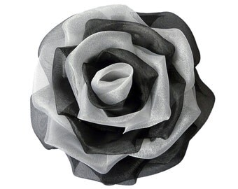 Rose hair clip, Organza flower brooch, Wedding corsage pin, Floral headpiece with Swarovski crystals BLACK and WHITE