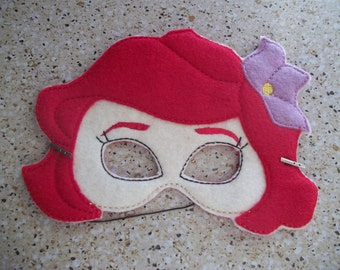 Ariel, machine embroidered felt mask for kids
