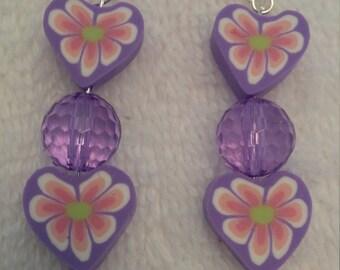 Purple Beaded Polymer Clay Flower Earrings  (#449)