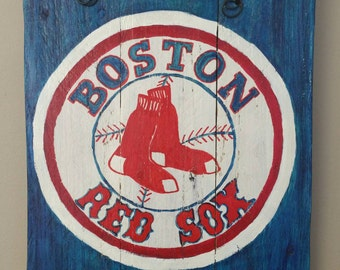 Boston Red Sox hand painted sign on reclaimed wood
