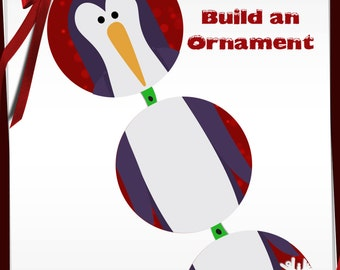 Build a Penguin Ornament Bottle Cap images -1 in circles - 600dpi, 4 Different sets on a Collage Sheet, ornaments, Gift Tags, BottleCaps