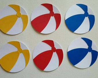 Beach Ball Die Cut Set of 6, Beach ball, Beach Die Cut, Beach Theme, Summer Die Cut