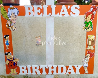 Flintstones photo booth birthday party photo booth or photo prop decoration Wilma, Fred, Ernie, Pebbles, Bamm-Bamm, Betty Party Frame